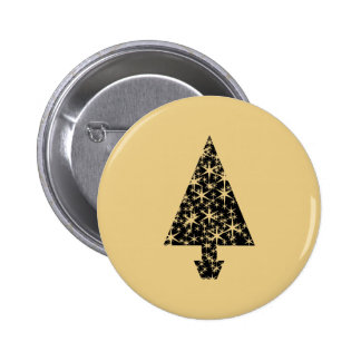 Black and Gold Color Christmas Tree Design. 2 Inch Round Button