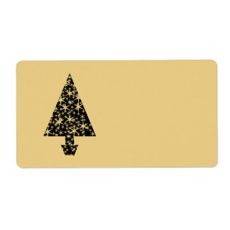 Black and Gold Color Christmas Tree Design. Label