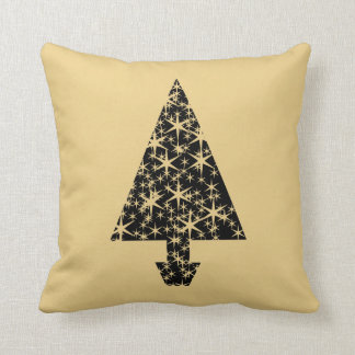 Black and Gold Color Christmas Tree Design. Throw Pillow