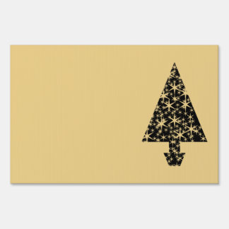 Black and Gold Color Christmas Tree Design Sign