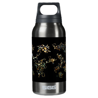 Black and Gold Color, Printed Pattern Design. Insulated Water Bottle