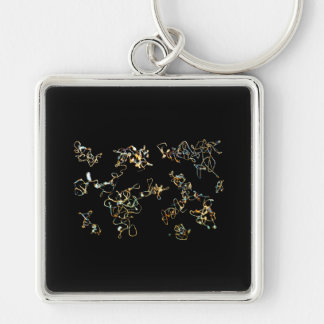 Black and Gold Color, Printed Pattern Design. Keychain