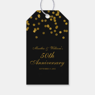 50th Wedding Anniversary Gift Tags : Black and Gold Confetti 50th Anniversary Gift Tags