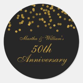 Black and Gold Confetti 50th Anniversary Sticker