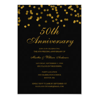 Black and Gold Confetti 50th Wedding Anniversary Invitation