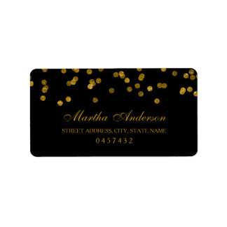 Black and Gold Confetti Address Labels
