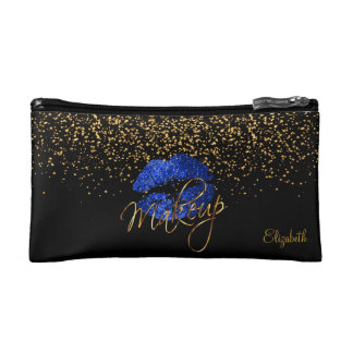 Black and Gold Confetti - Blue Glitter Lips Cosmetic Bag