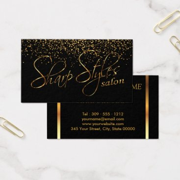 font themed Black and Gold Confetti Business Card