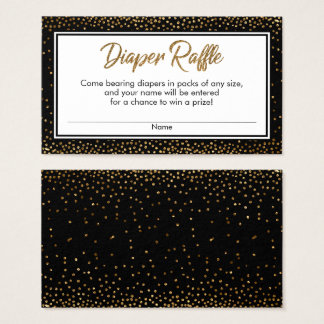 Black and Gold Confetti Diaper Raffle Ticket Cards