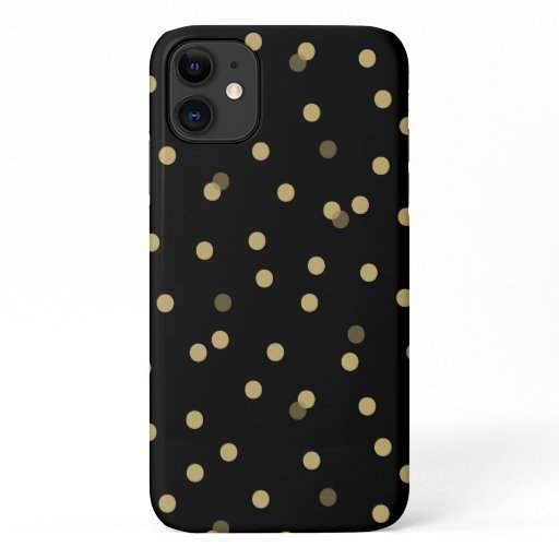 Black and Gold Confetti Dots iPhone 11 Case