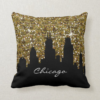 Black and Gold Confetti Glitter Chicago Skyline Throw Pillow