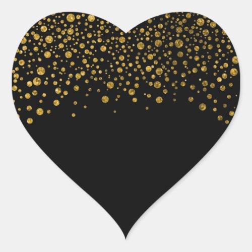 Black and Gold Confetti Heart Sticker