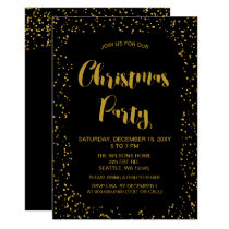 Black and Gold confetti Modern Christmas Party Card