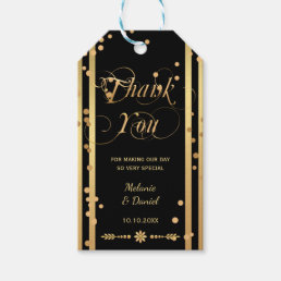 Black and Gold Confetti Wedding Thank You Gift Tag
