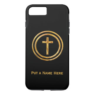 Black and Gold Cross Name Template iPhone 7 Plus Case