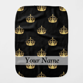 Black and gold crown pattern burp cloth