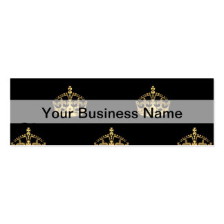 Black and gold crown pattern Double-Sided mini business cards (Pack of 20)
