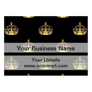 Black and gold crown pattern large business cards (Pack of 100)