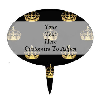 Black and gold crown pattern cake topper