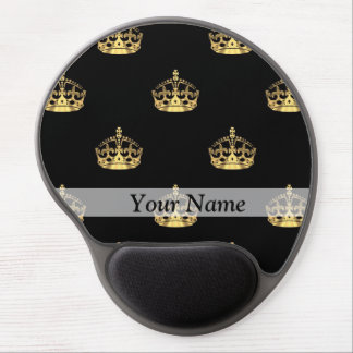 Black and gold crown pattern gel mouse pad