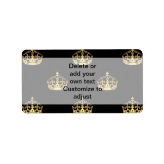 Black and gold crown pattern label