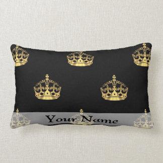 Black and gold crown pattern lumbar pillow