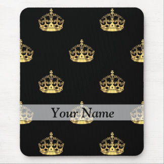 Black and gold crown pattern mouse pad