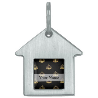 Black and gold crown pattern pet ID tag