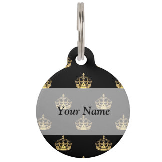 Black and gold crown pattern pet name tags