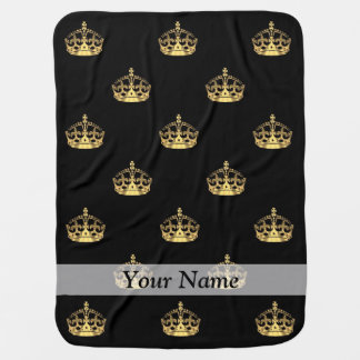 Black and gold crown pattern receiving blanket