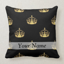 Black and gold crown pattern throw pillow