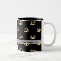 Black and gold crown pattern Two-Tone coffee mug