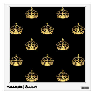 Black and gold crown pattern wall sticker
