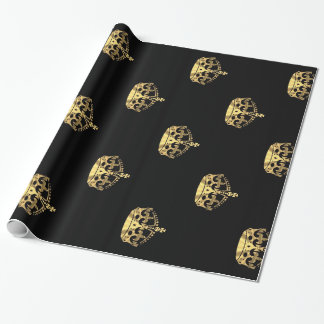 Black and gold crown pattern wrapping paper