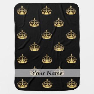 Black and gold crown pattern stroller blanket