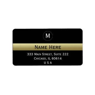 Black And Gold Custom Name Initial Monogram Label