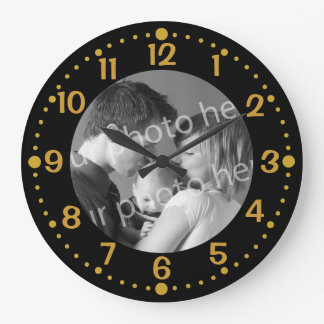 Black and Gold Custom Photo Clock Template Minutes