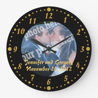 Black and Gold Custom Photo Wedding Clock Minutes