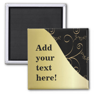 Black and Gold Customize It 2 Inch Square Magnet