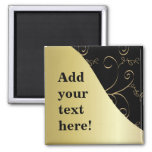 Black and Gold Customize Magnets