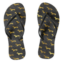 Black and Gold Dachshund Pattern Flip Flops
