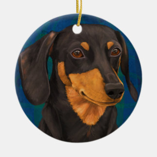 Black and Gold Dachshund Portrait on Blue Christmas Tree Ornaments