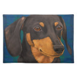 Black and Gold Dachshund Portrait on Blue Placemats