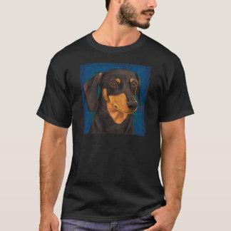 Black and Gold Dachshund Portrait on Blue T-Shirt