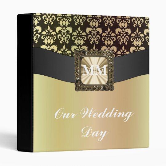 Black and gold damask 3 ring binder