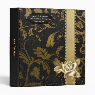 Black and Gold Damask 50th Wedding Anniversary 3 Ring Binder