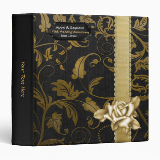Black and Gold Damask 50th Wedding Anniversary 3 Ring Binders
