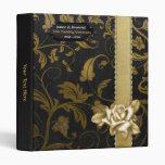 Black and Gold Damask 50th Wedding Anniversary Vinyl Binders