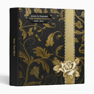 Black and Gold Damask 50th Wedding Anniversary Binders