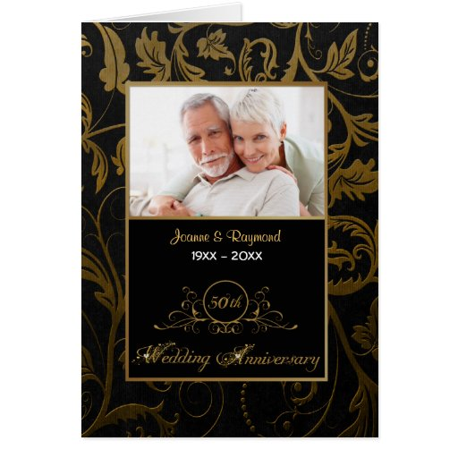 Black and Gold Damask 50th Wedding Anniversary Greeting Card